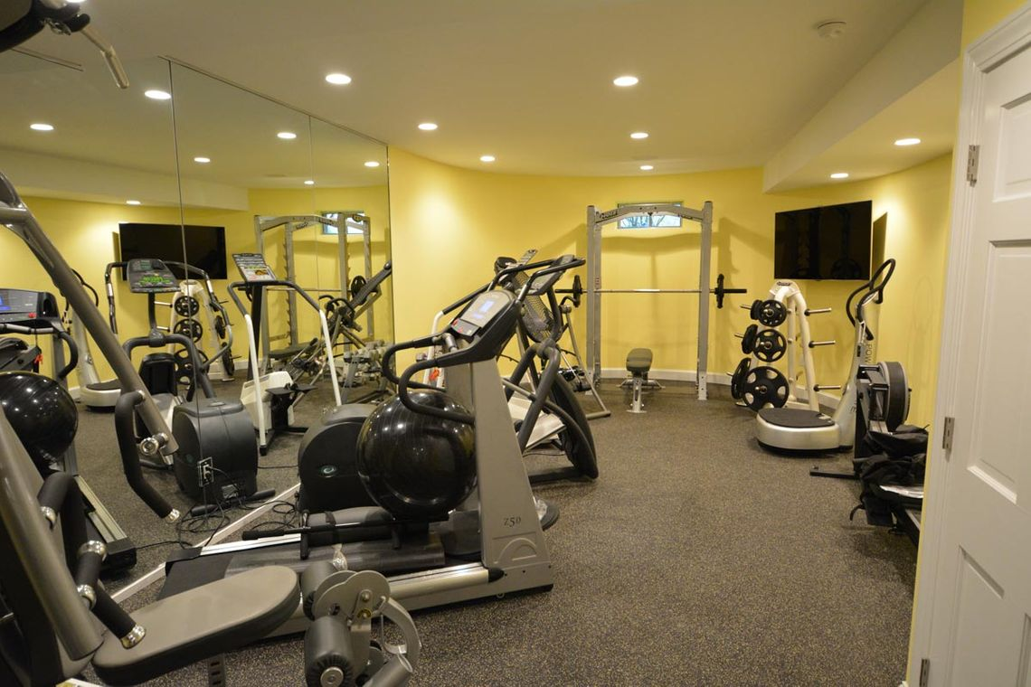 at home gym, basement renovation, the wiese company