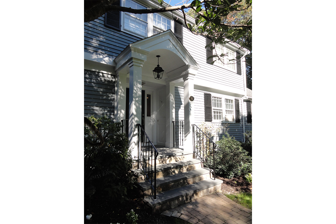 exterior home renovation, front entrance renovation, traditional home entrance, traditional portico, exterior stair entrance, the wiese company