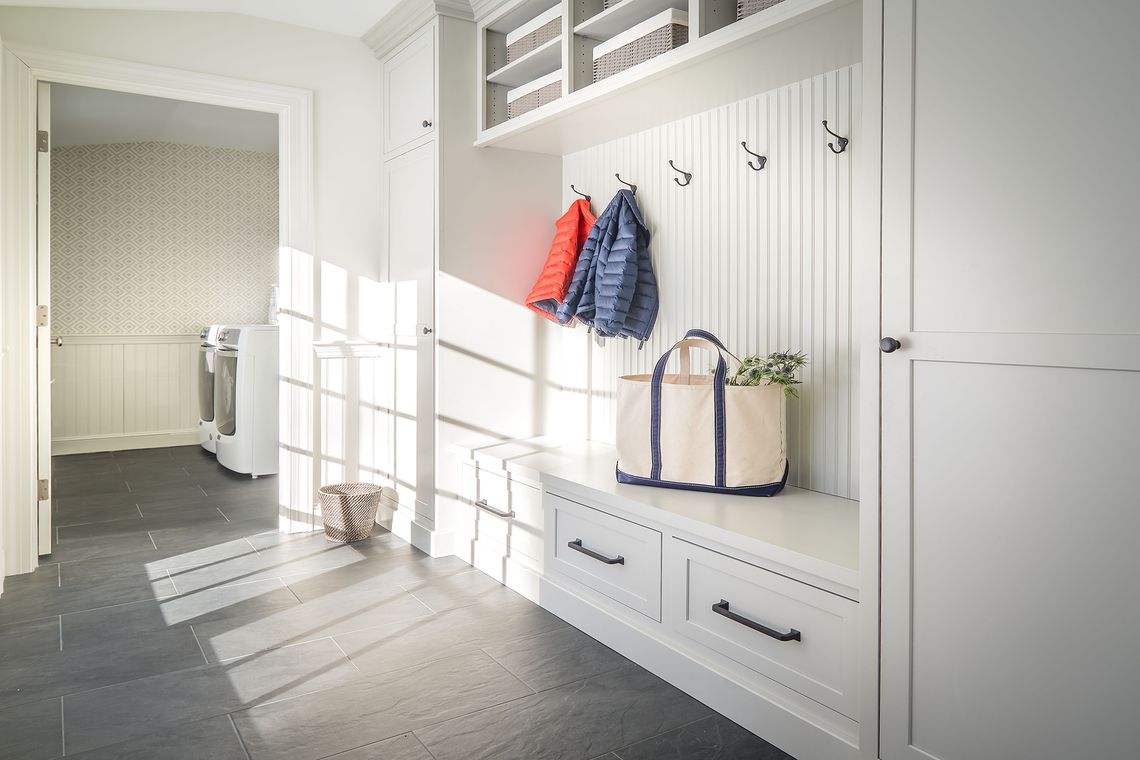 laundry room renovation, mudroom renovation, wainscoting, The Wiese Company