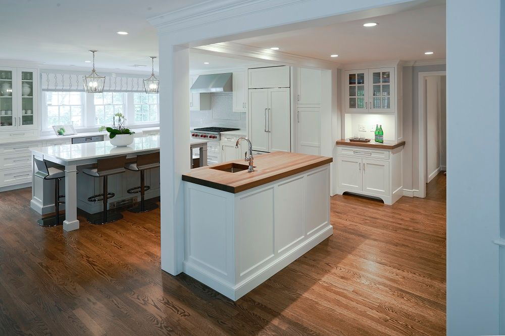 kitchen renovation, home addition, kitchen bump-out, kitchen island, prep island, prep sink, paneled refrigerator, The Wiese Company