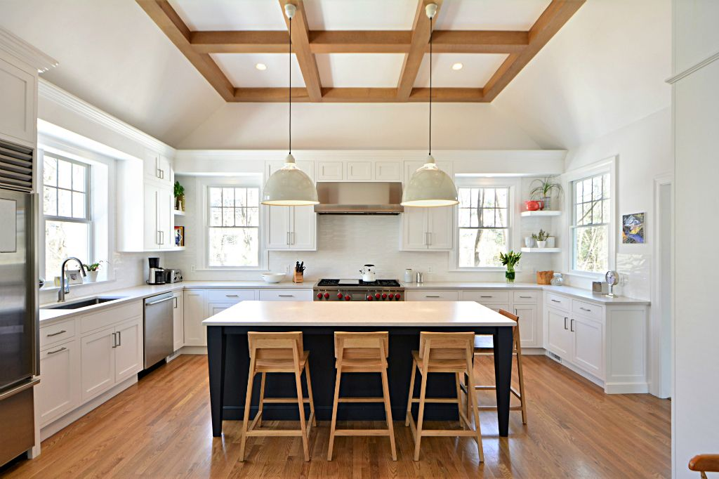 kitchen renovation, colored kitchen island, coffered ceiling, tray ceiling, midcentury modern kitchen, The Wiese Company