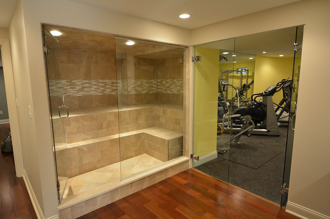 basement renovation, at home gym, steam room, the wiese company